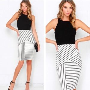 Lulus kiss cross back stripe bodycon midi dress